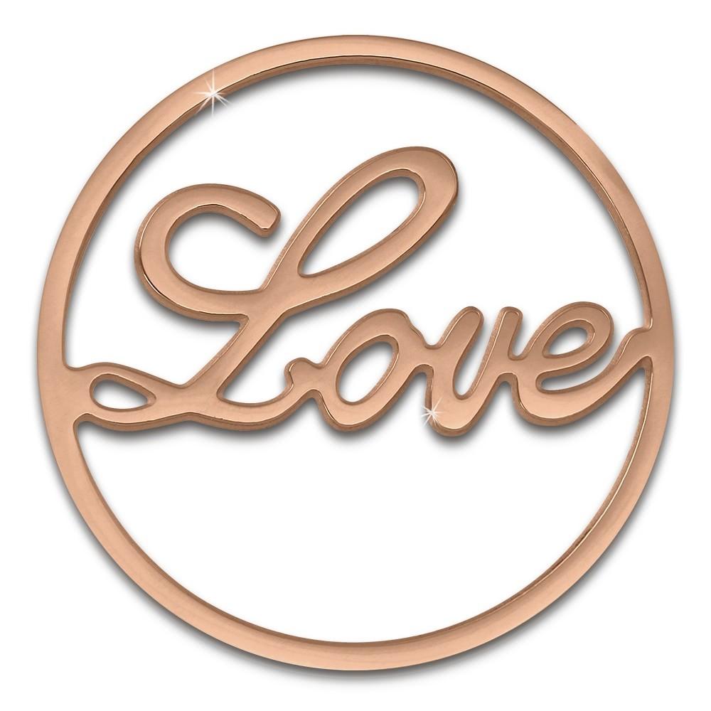 Amello Edelstahl Coin Love 30mm rose für Coinsfassung Stahlschmuck ESC501E