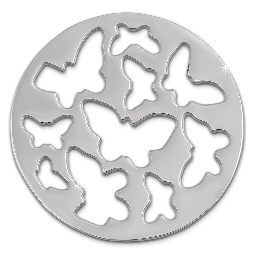 Amello Edelstahl Coin Schmetterling silber für Coinsfassung Schmuck ESC503J