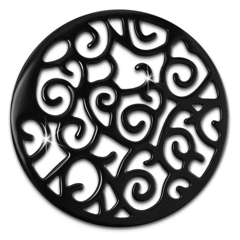 Amello Edelstahl Coin Ornament schwarz für Coinsfassung Stahlschmuck ESC505S