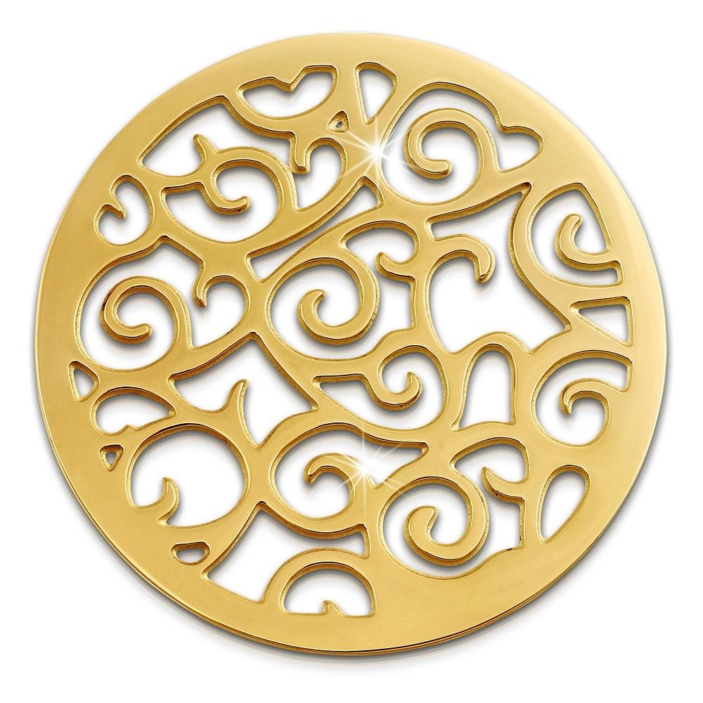 Amello Edelstahl Coin Ornament gold für Coinsfassung Stahlschmuck ESC505Y