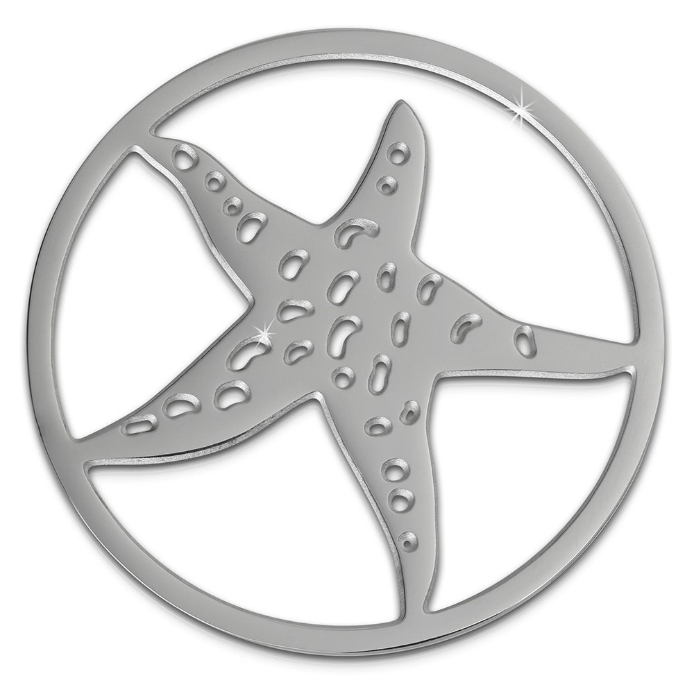 Amello Edelstahl Coin Seestern silber für Coinsfassung Stahlschmuck ESC510J