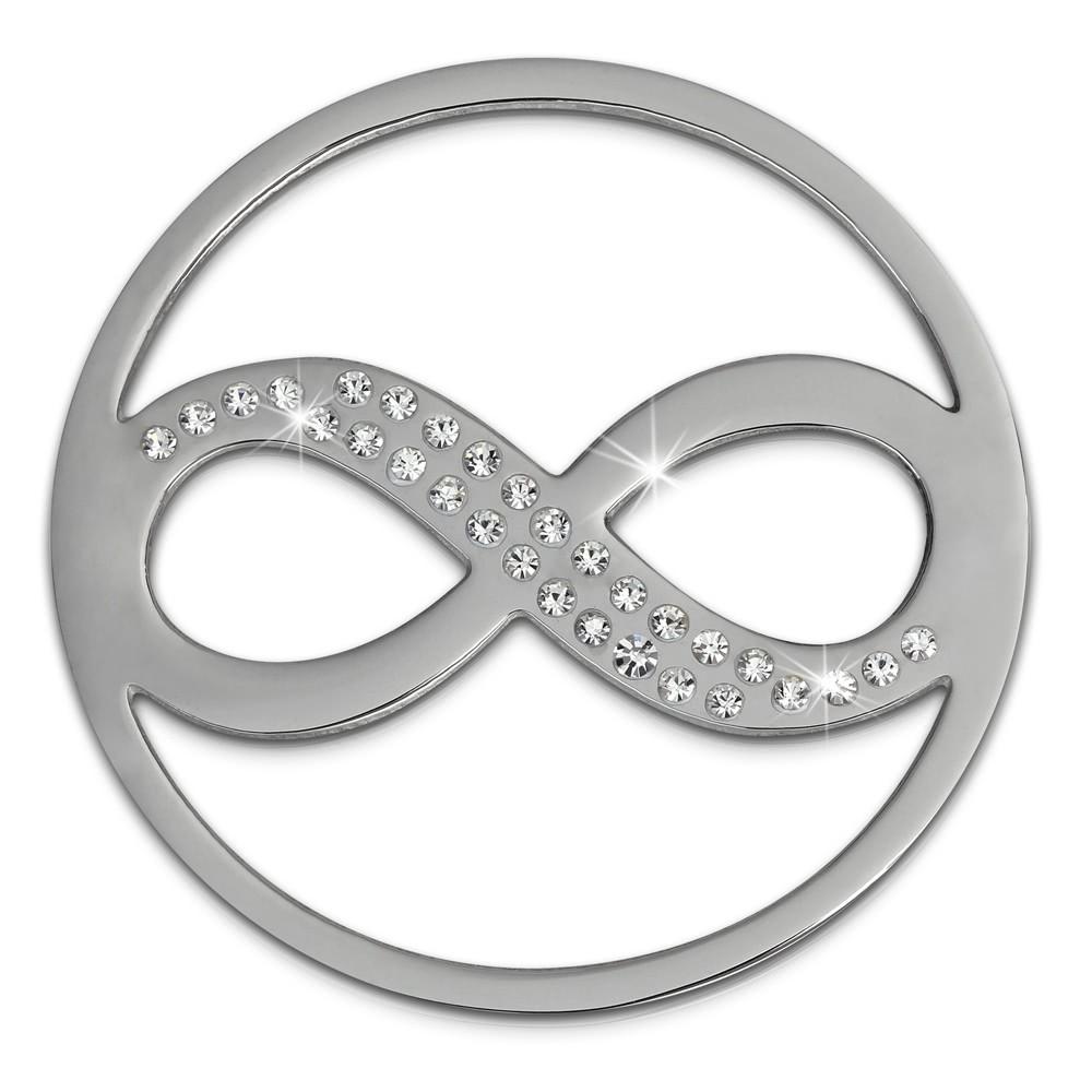 Amello Edelstahl Coin Unendlich Silber Zirkonia weiß Stahlschmuck ESC511J