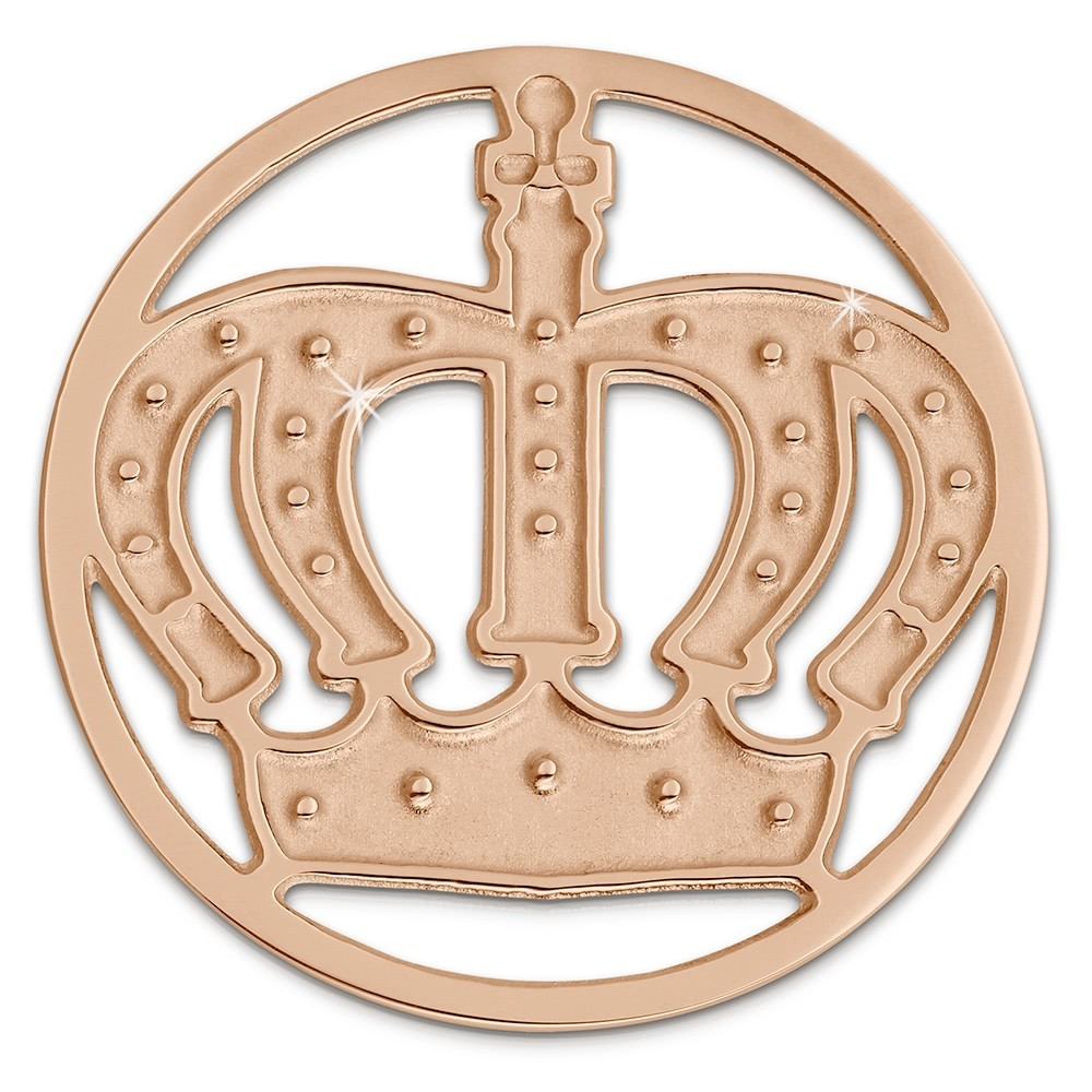 Amello Edelstahl Coin Krone rosegold für Coinsfassung Stahlschmuck ESC513E