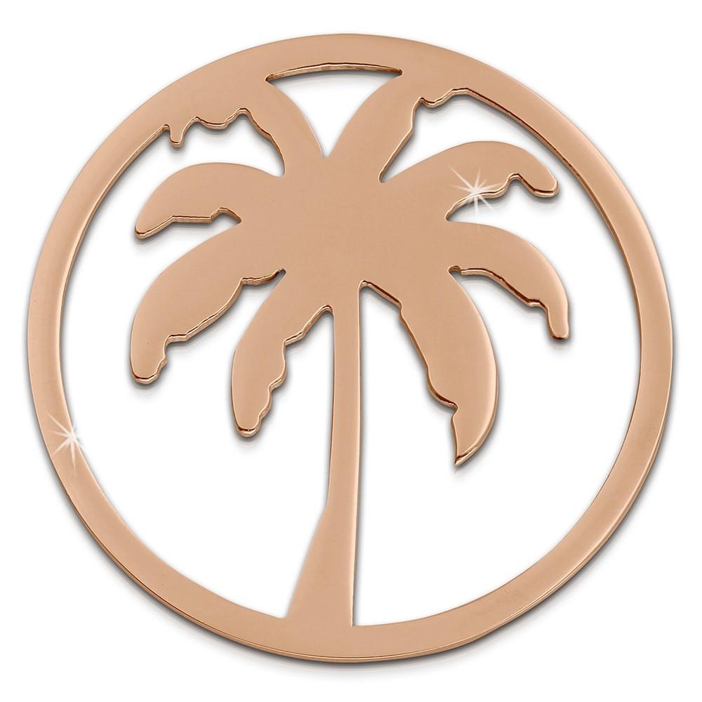 Amello Edelstahl Coin Palme rosegold für Coinsfassung Stahlschmuck ESC515E