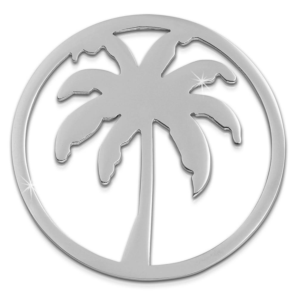 Amello Edelstahl Coin Palme silber für Coinsfassung Edelstahlschmuck ESC515J