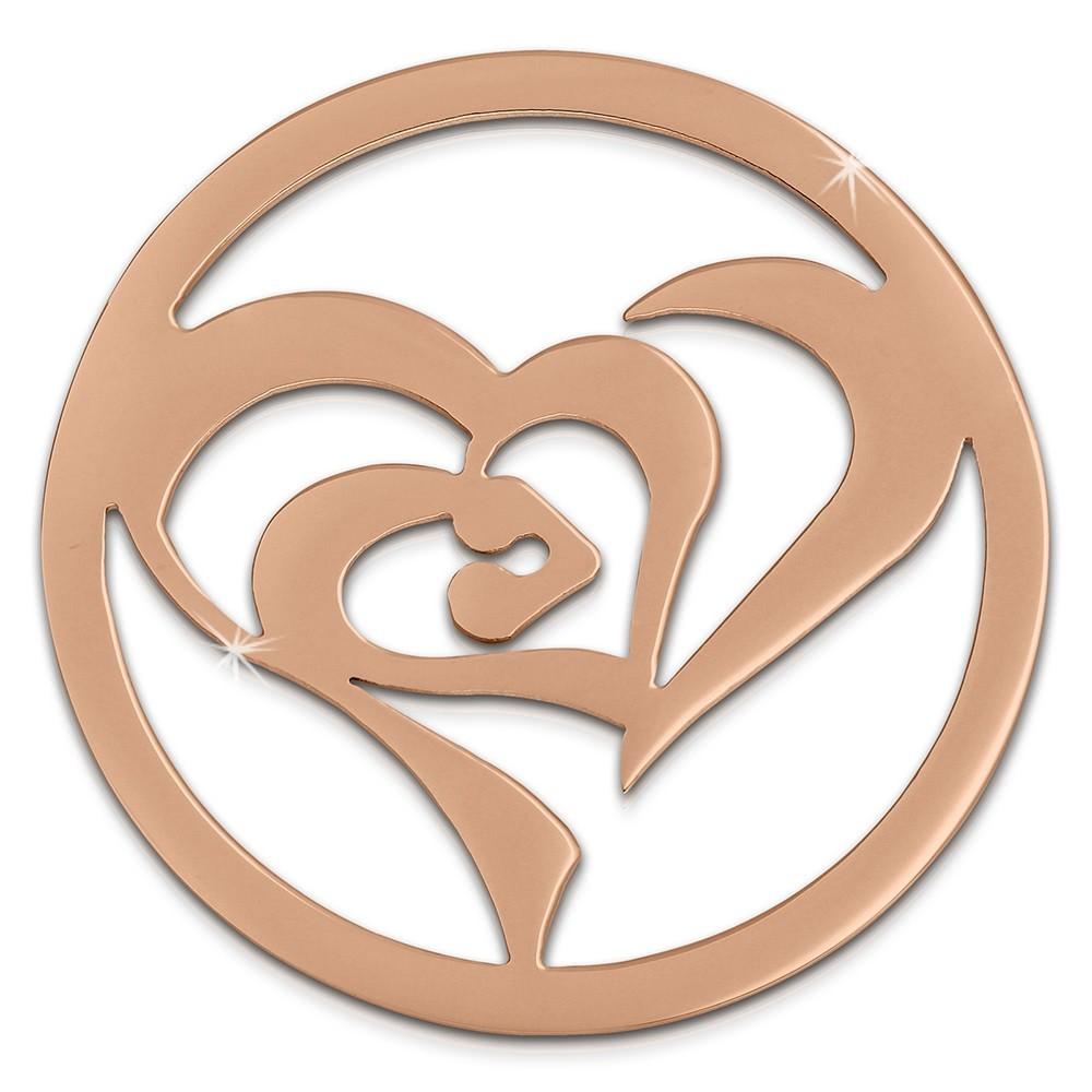 Amello Edelstahl Coin Herz in Herz rosegold Coinsfassung Stahlschmuck ESC516E