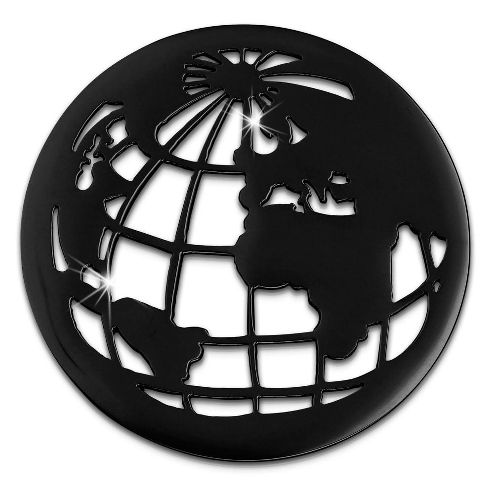 Amello Edelstahl Coin Weltkugel schwarz für Coinsfassung Stahlschmuck ESC517S