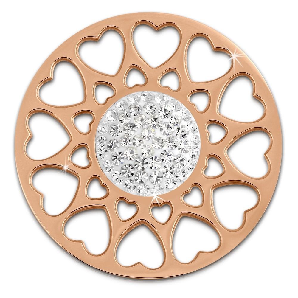 Amello Edelstahl Coin Herzblume rosegold Zirkonia weiß Stahlschmuck ESC519EW