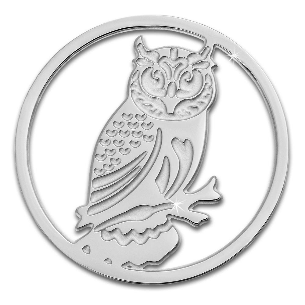 Amello Edelstahl Coin Eule 30mm silber für Coinsfassung Stahlschmuck ESC520J