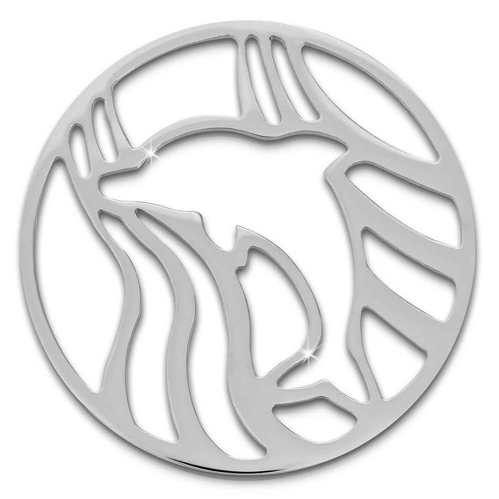 Amello Edelstahl Coin Delfin silber für Coinsfassung Edelstahlschmuck ESC521J