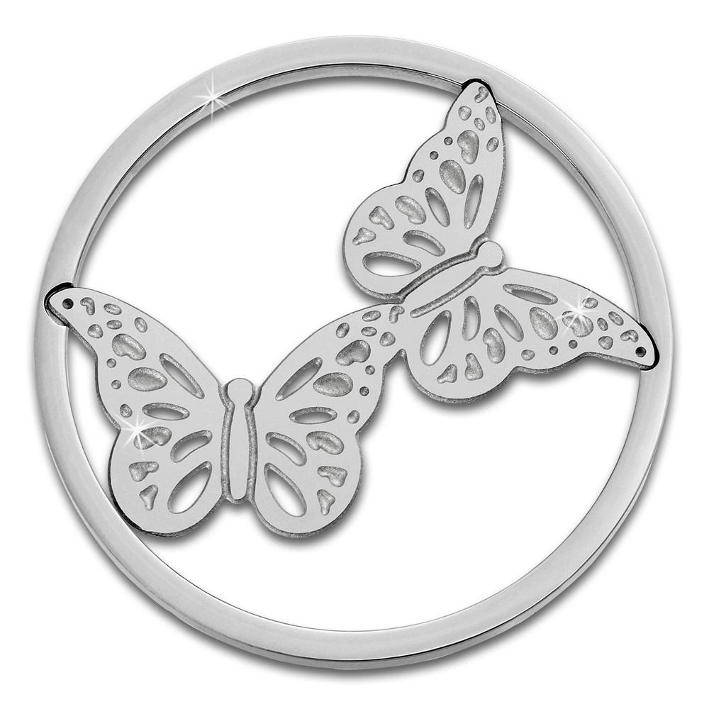 Amello Edelstahl Coin Schmetterlinge für Coinsfassung Stahlschmuck ESC522J