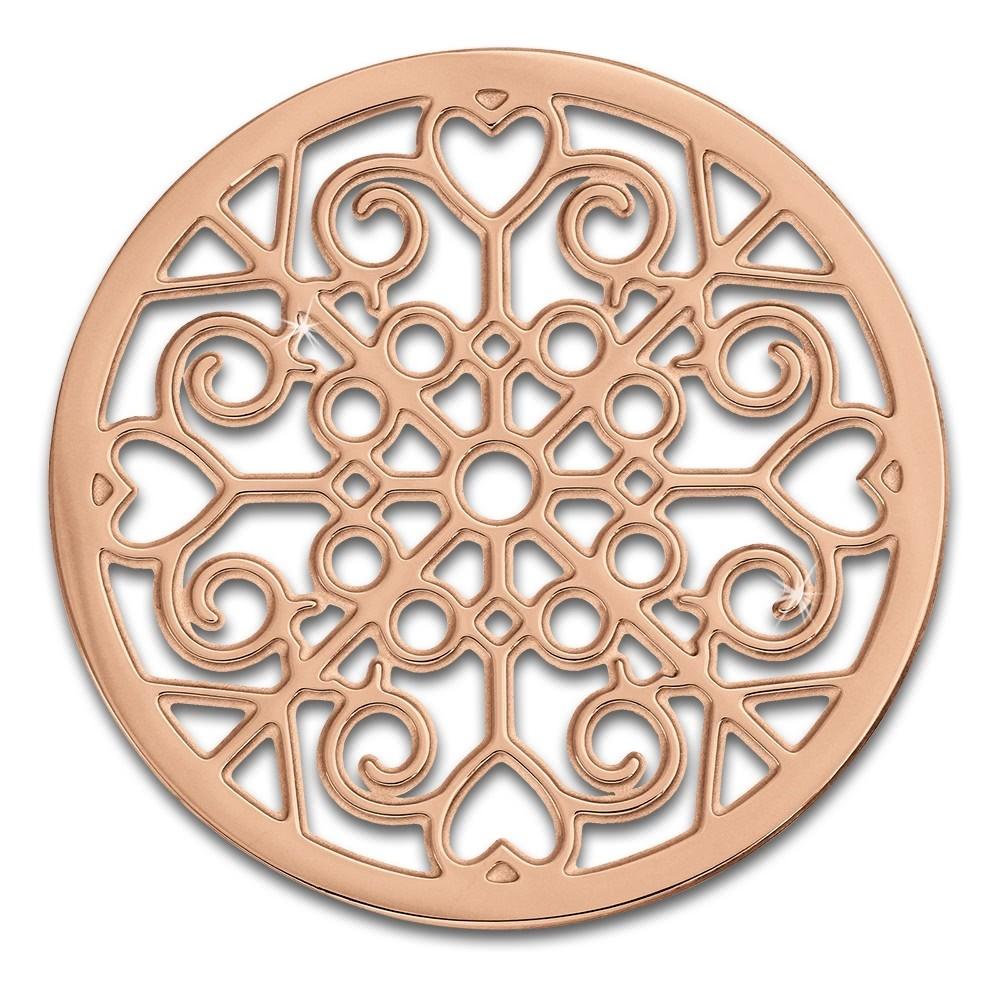 Amello Edelstahl Coin Muster rosegold für Coinsfassung Stahlschmuck ESC523E