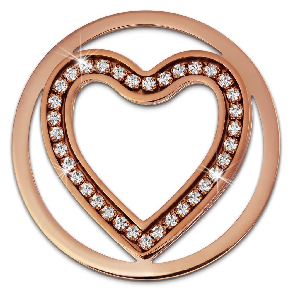 Amello Edelstahl Coin Herz 30mm rosegold Zirkonia weiß Stahlschmuck ESC525EW