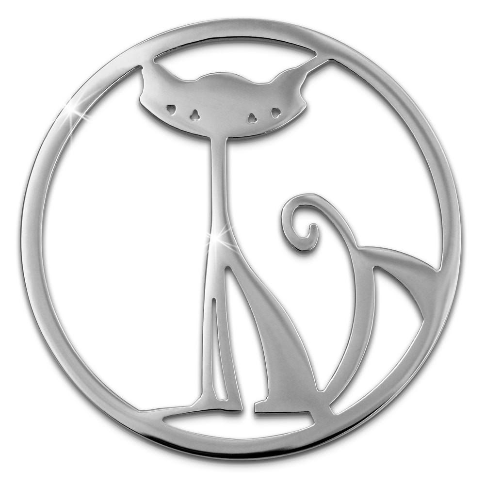 Amello Edelstahl Coin Katze silber für Coinsfassung Edelstahlschmuck ESC531J