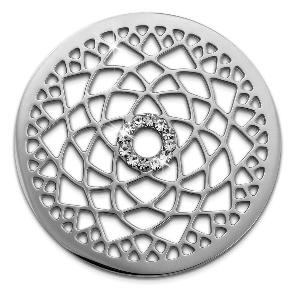 Amello Edelstahl Coin Lotusblume Silber Zirkonia weiß Stahlschmuck ESC532JW