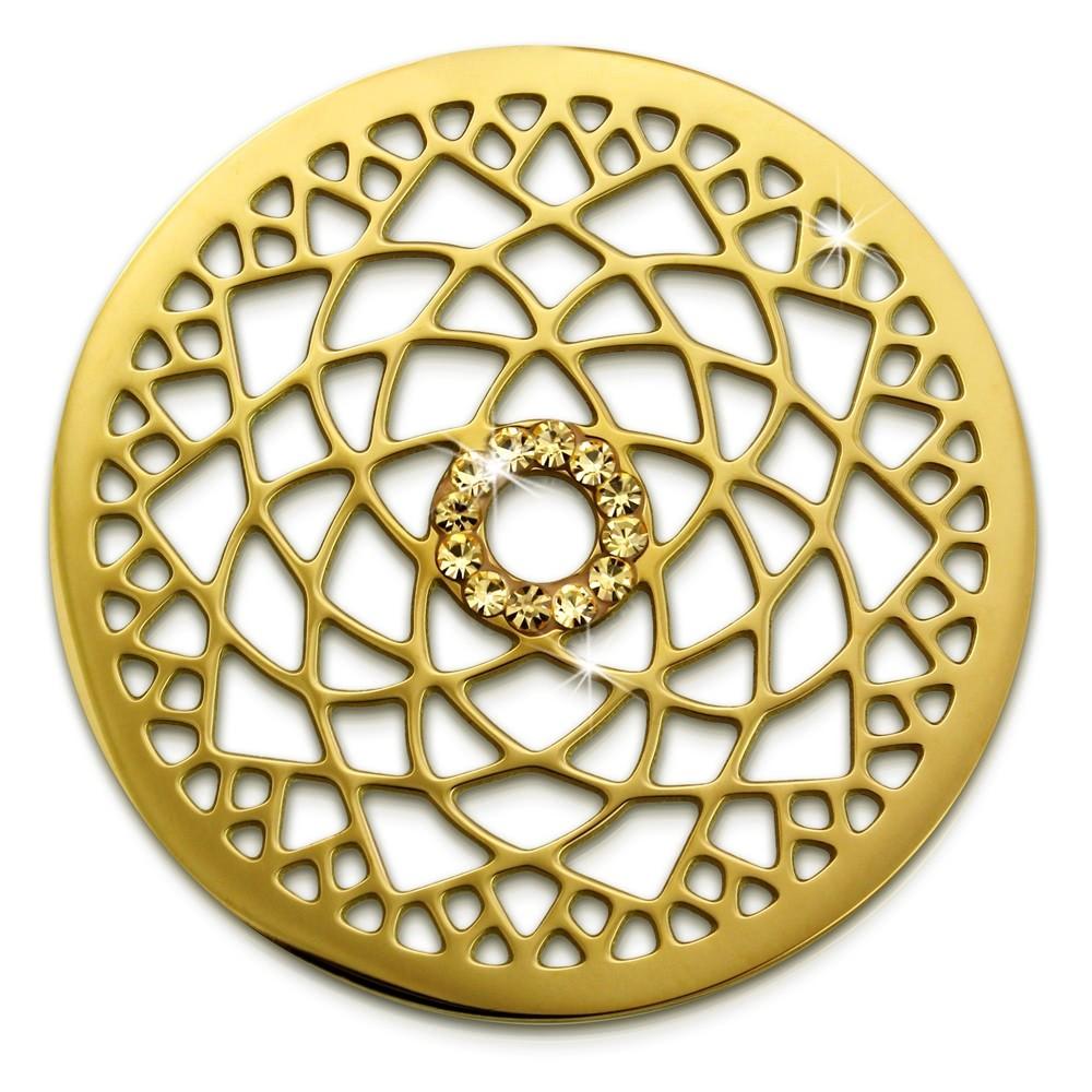 Amello Edelstahl Coin Lotusblume 30mm gold Zirkonia Stahlschmuck ESC532YY