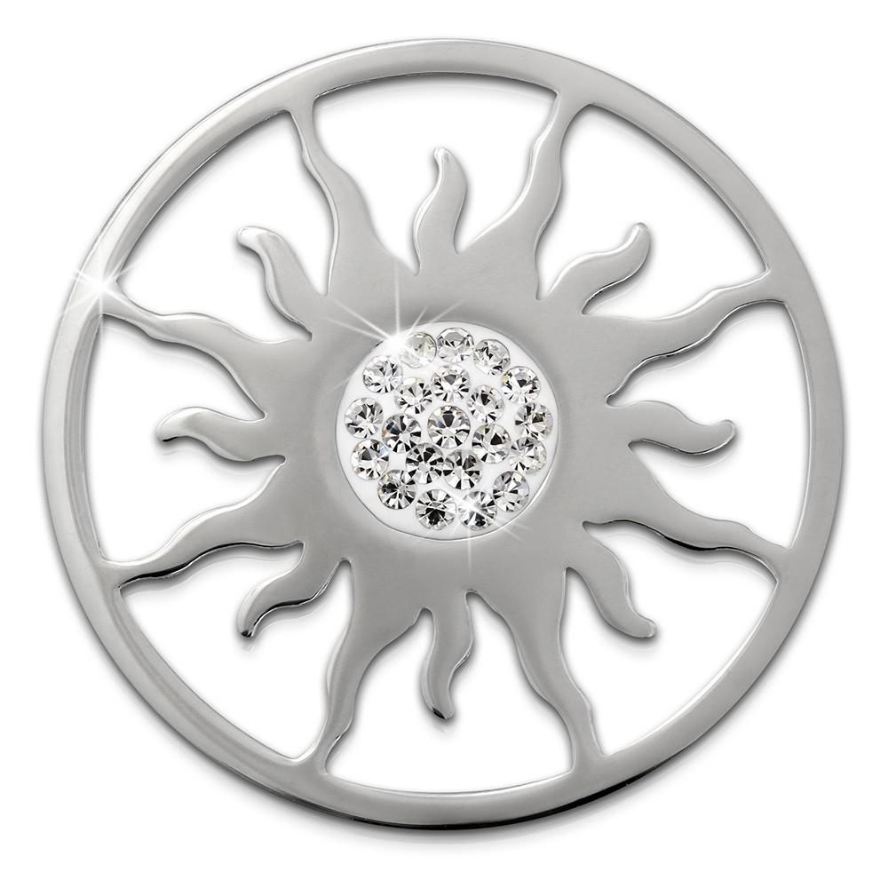 Amello Edelstahl Coin Sonnenblume Silber Zirkonia weiß Stahlschmuck ESC533JW