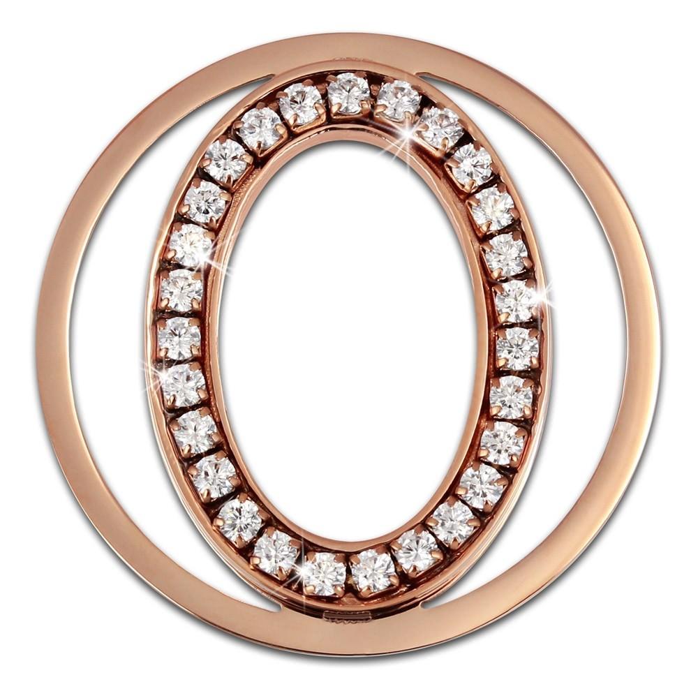 Amello Edelstahl Coin Oval rosevergoldet Zirkonia weiß Stahlschmuck ESC535EW