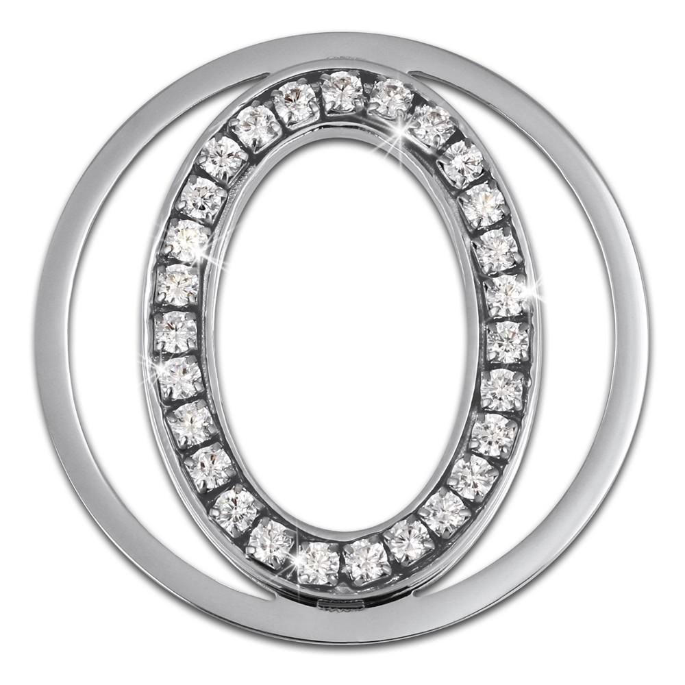 Amello Edelstahl Coin Oval 30mm Silber Zirkonia weiß Stahlschmuck ESC535JW