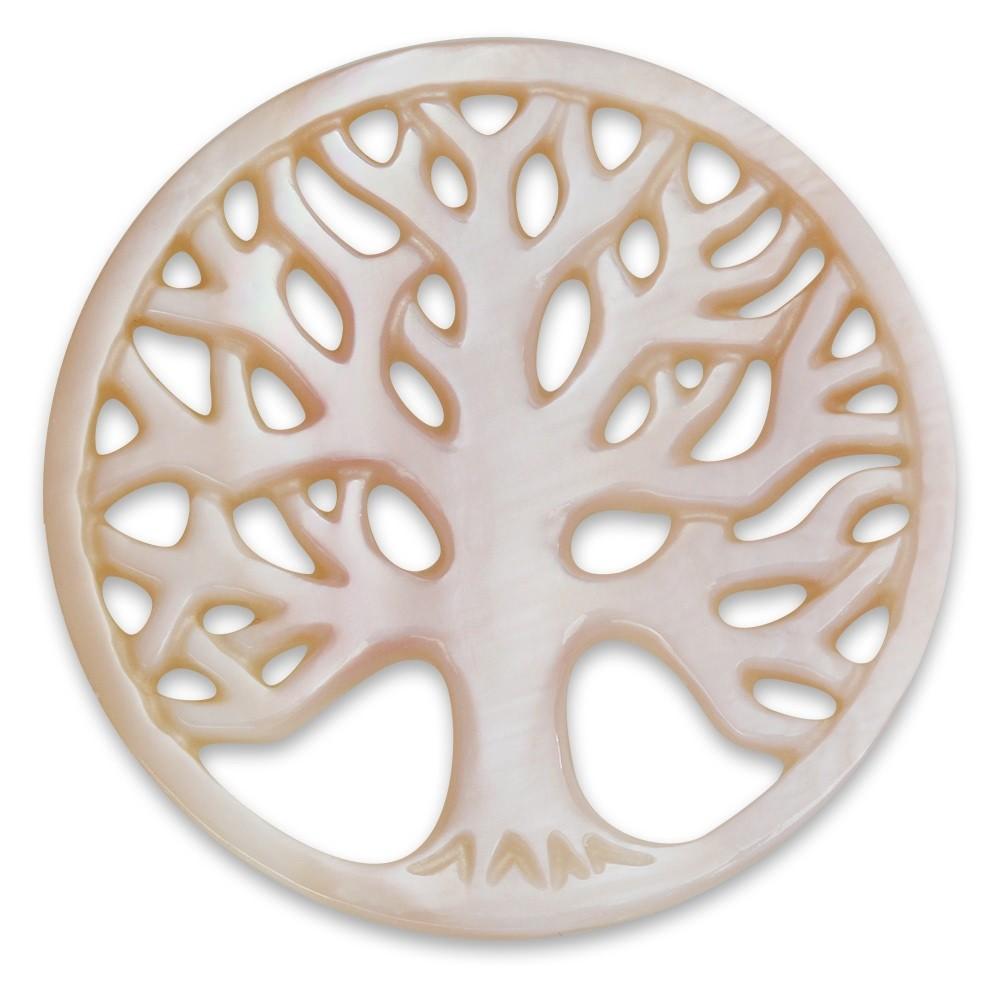 Amello Coin Lebensbaum Perlmutt rosa für Coinsfassung Stahlschmuck ESC601A
