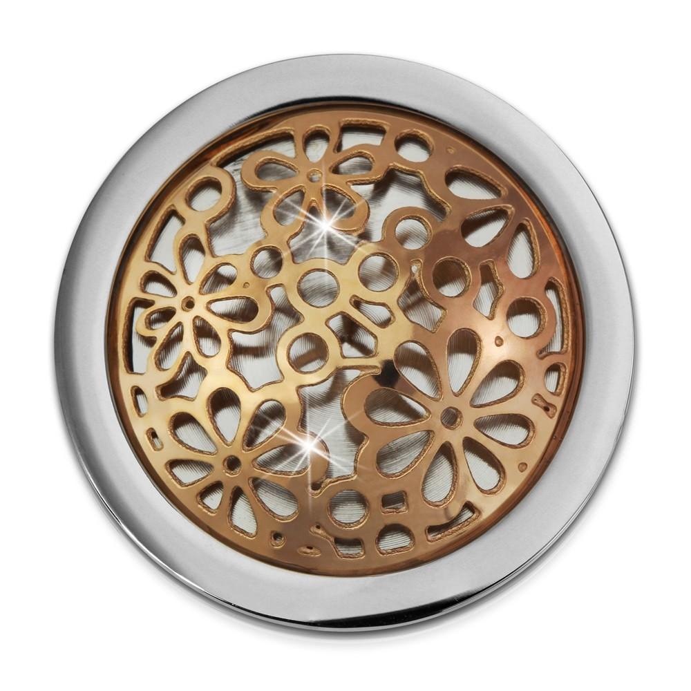 Amello Edelstahl Coin Blumen rose 25mm für Coinsfassung Stahlschmuck ESC631E
