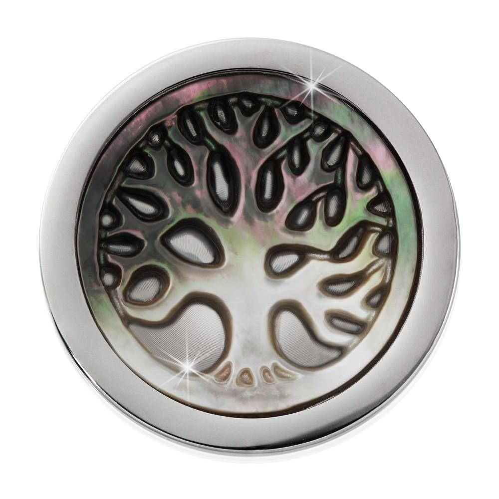 Amello Coin Lebensbaum 25mm Perlmutt für Coinsfassung Stahlschmuck ESC743F