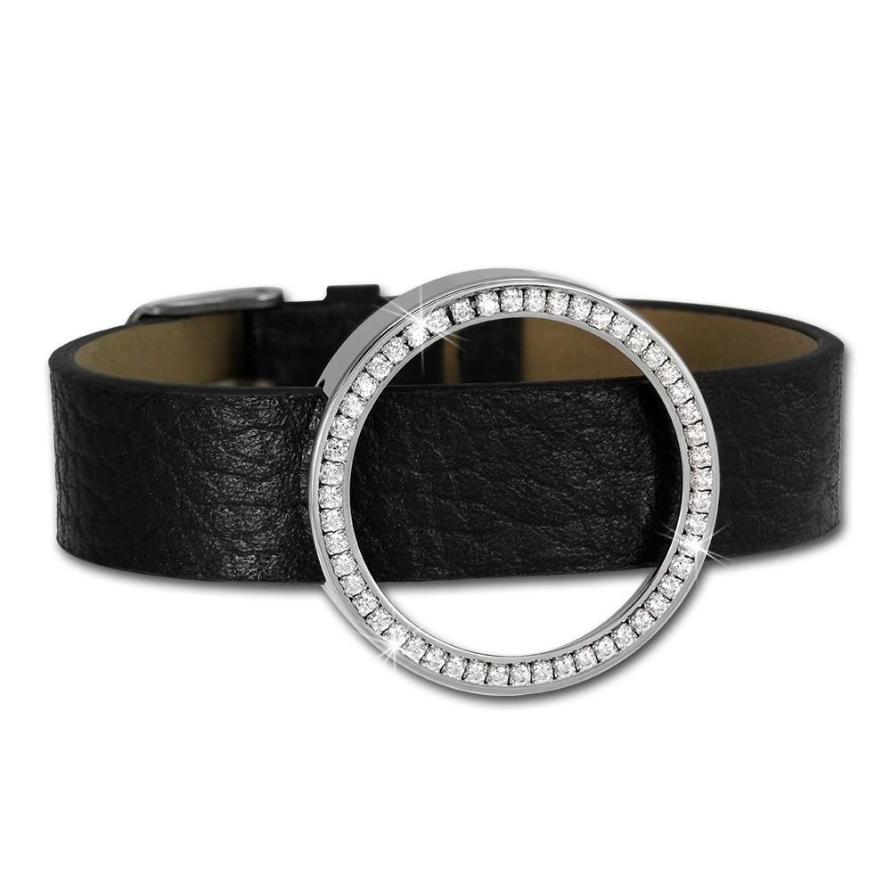 Amello Leder Armband mit Coin Fassung 30mm silber Zirkonia Schmuck ESCA02J