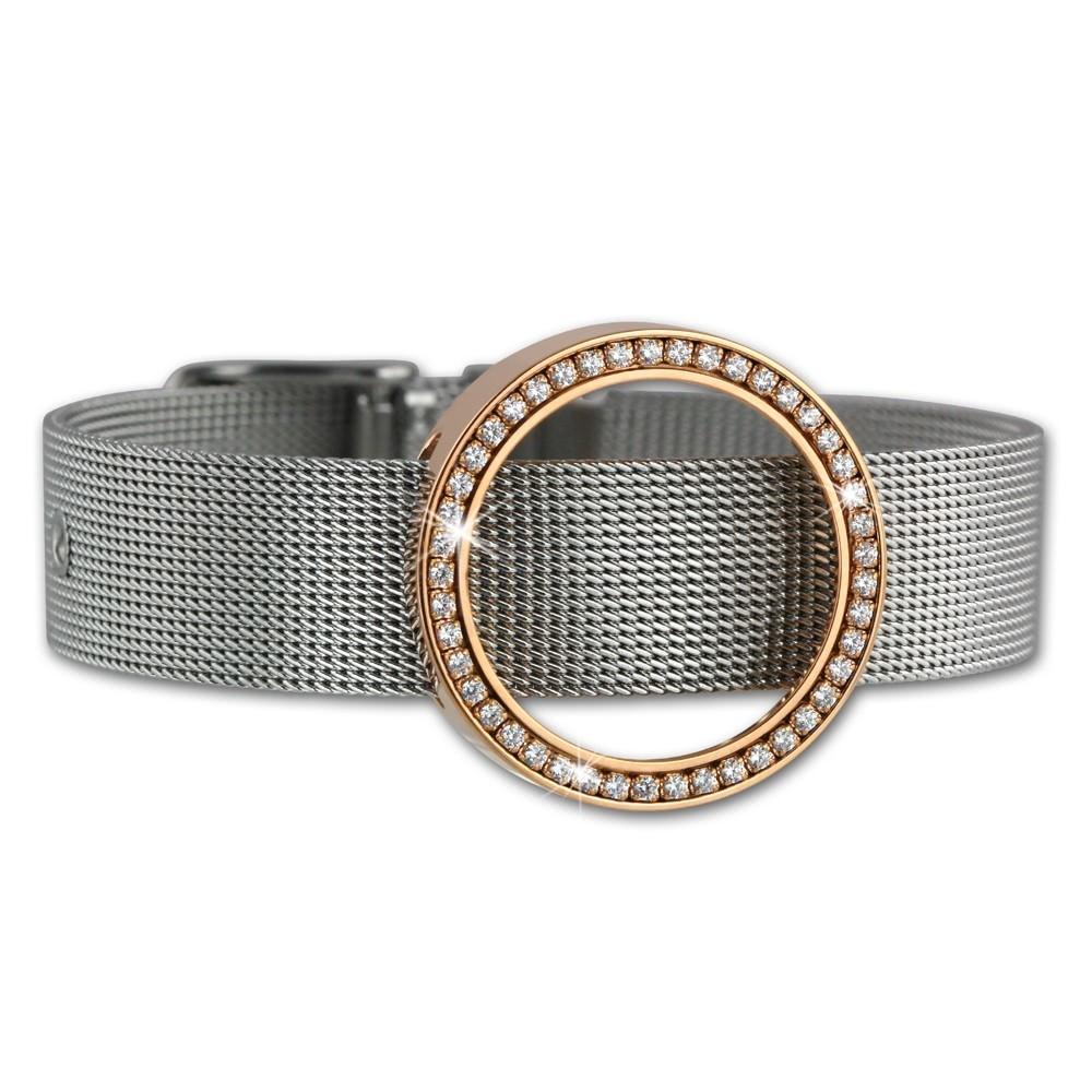 Amello Edelstahl Armband mit Coin Fassung 25mm rose Zirkonia Schmuck ESCA03E