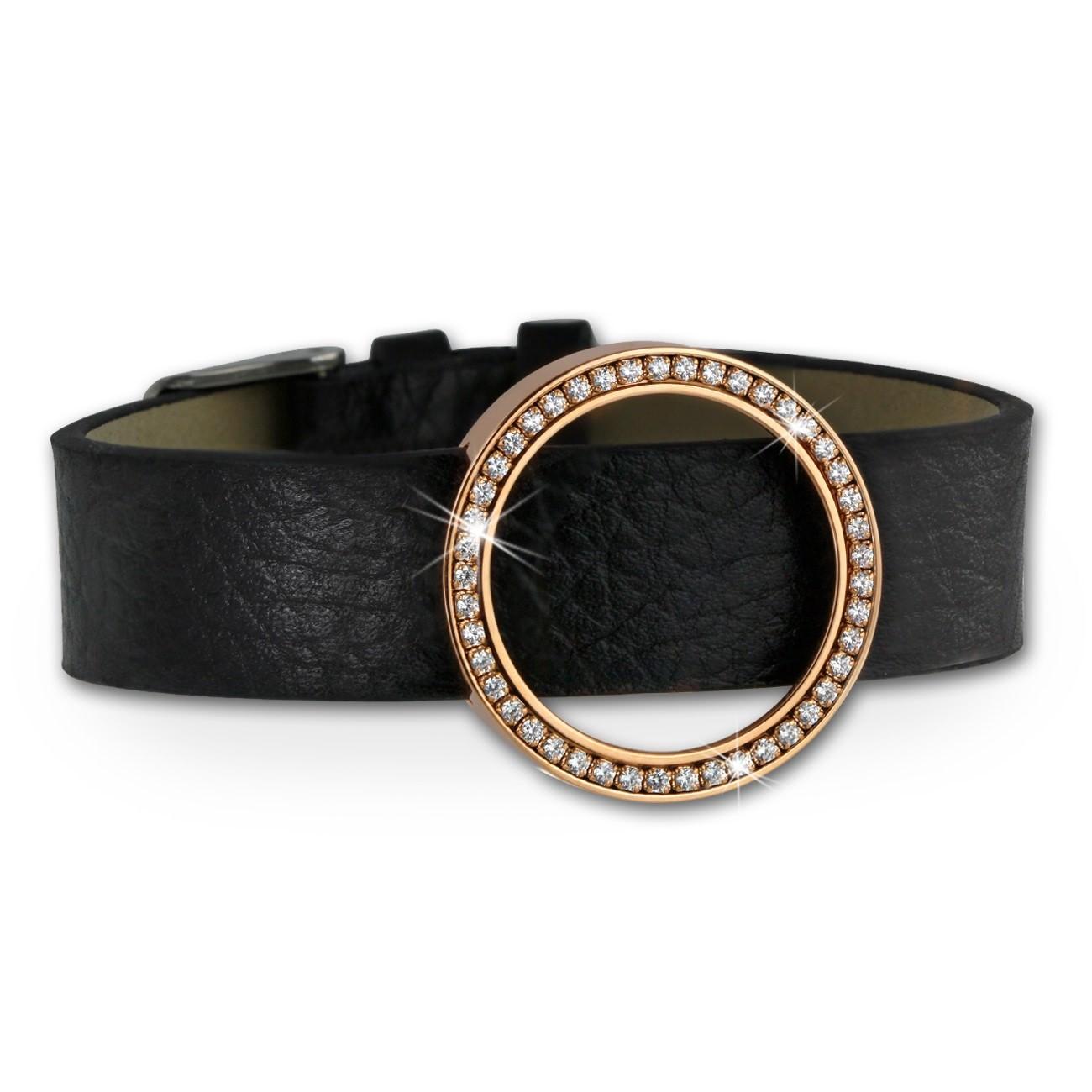 Amello Leder Armband mit Coin Fassung 25mm rose Zirkonia Schmuck ESCA05E