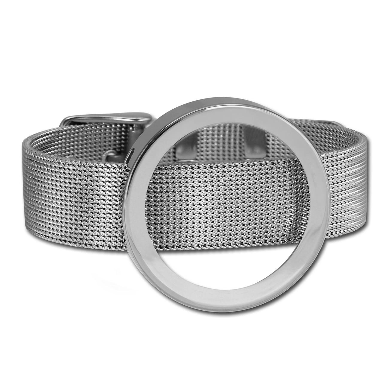 Amello Edelstahl Armband mit Coin Fassung 30mm silber Stahl Schmuck ESCA07J