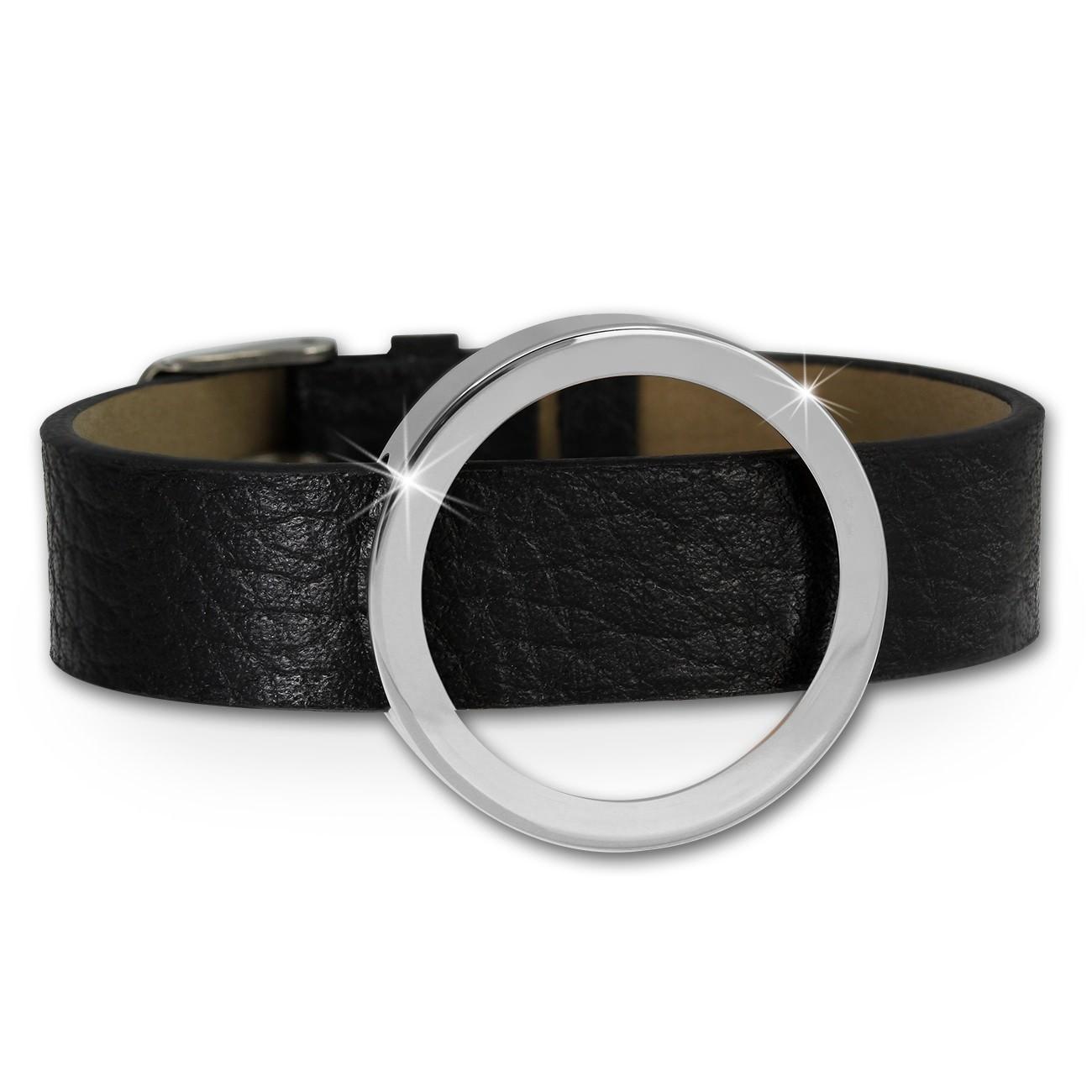 Amello Leder Armband mit Coin Fassung 30mm silber Edelstahlschmuck ESCA08J
