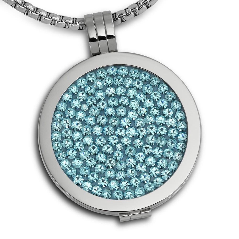 Amello Coins Ketten Set blau Edelstahl Kettenanhänger mit Kette 80cm ESCS01H