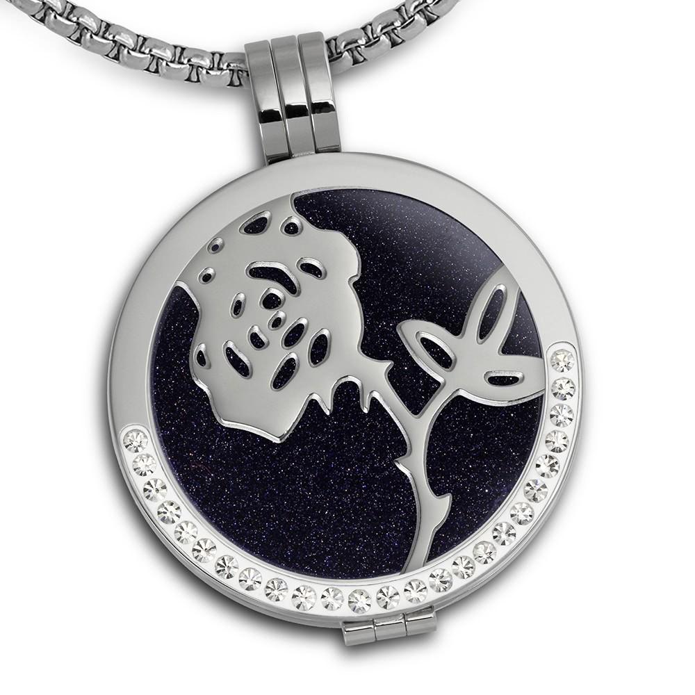 Amello Coins Ketten Set Rose Edelstahl Kettenanhänger mit Kette 50cm ESCS21B