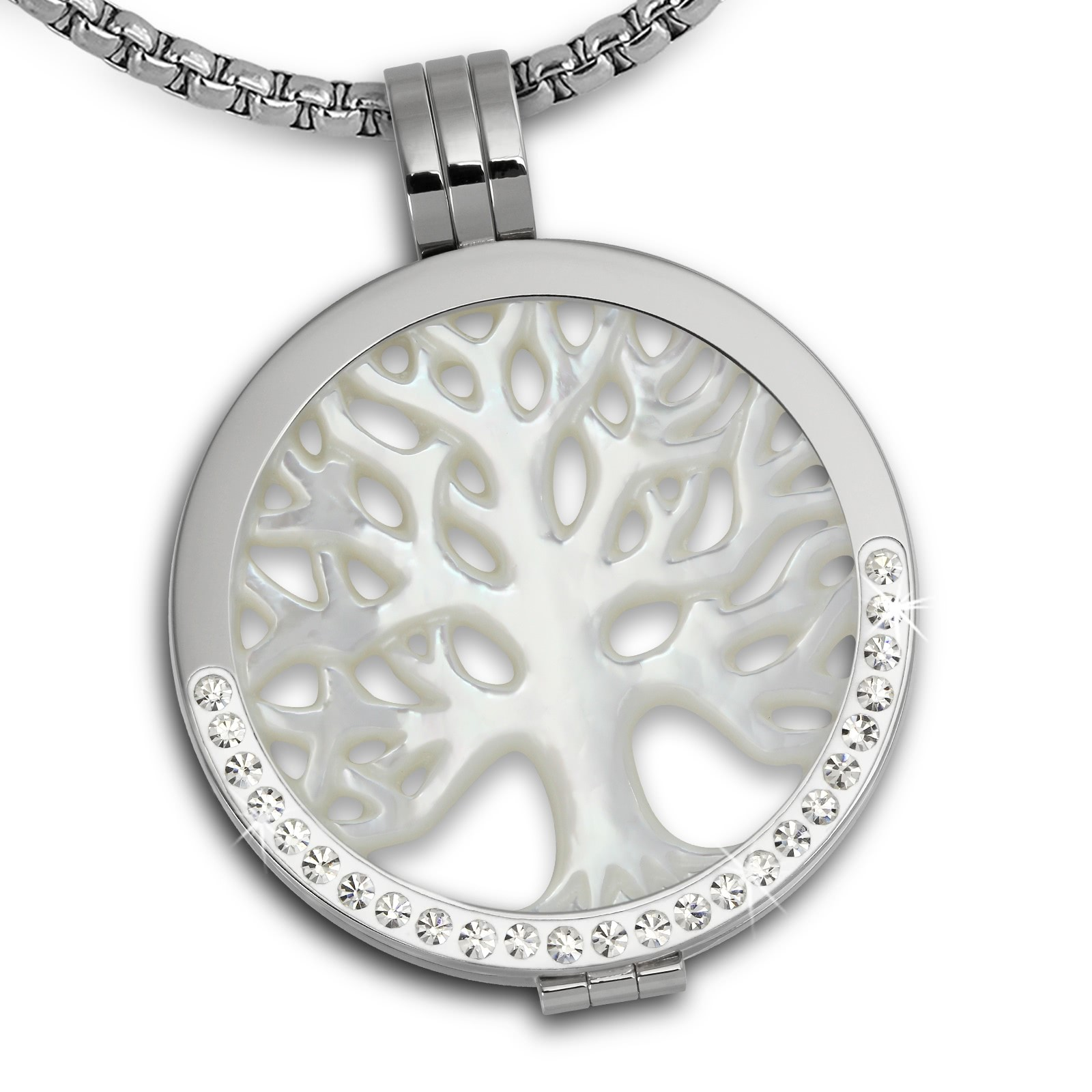 Amello Coins Set Lebendsbaum Edelstahl Kettenanhänger mit Kette 80cm ESCS21E