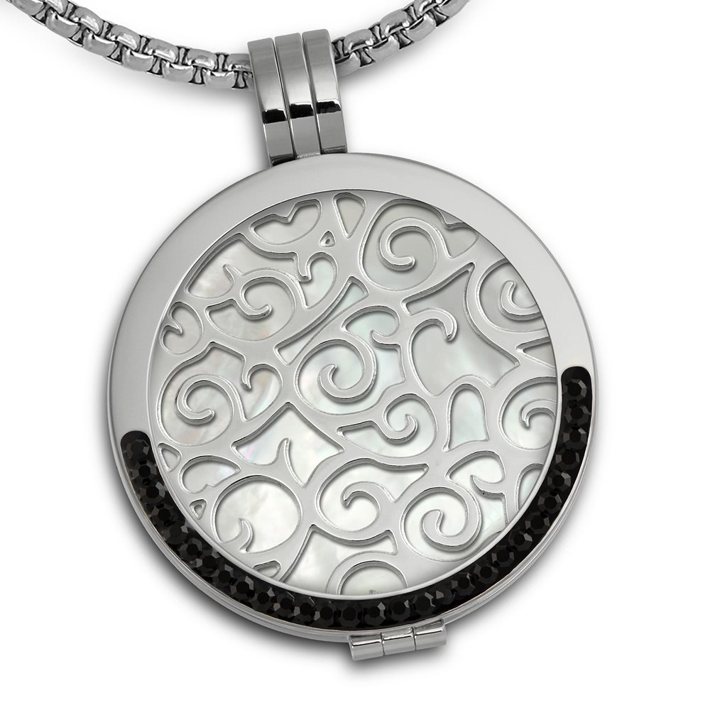 Amello Coins Kette Ornament Edelstahl Kettenanhänger mit Kette 80cm ESCS33W