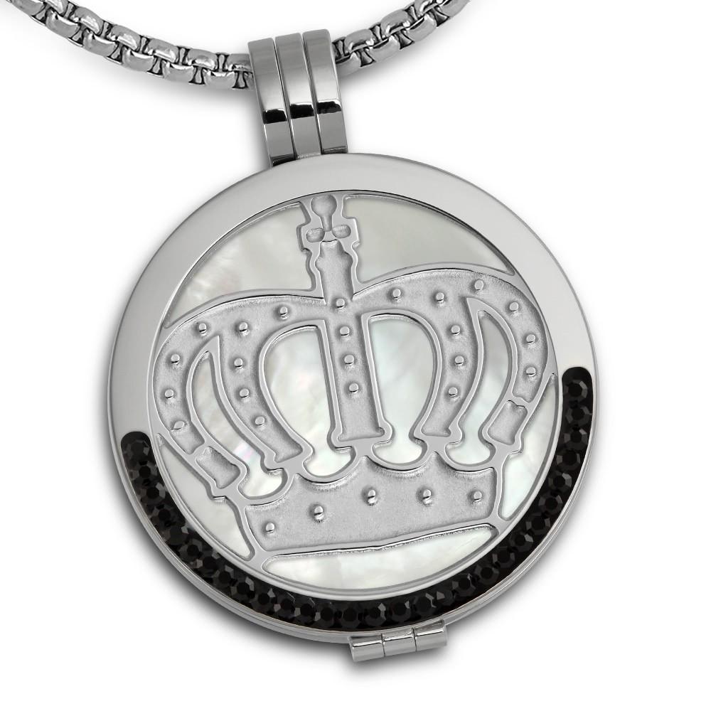 Amello Coins Ketten Set Krone Edelstahl Kettenanhänger mit Kette 50cm ESCS34W