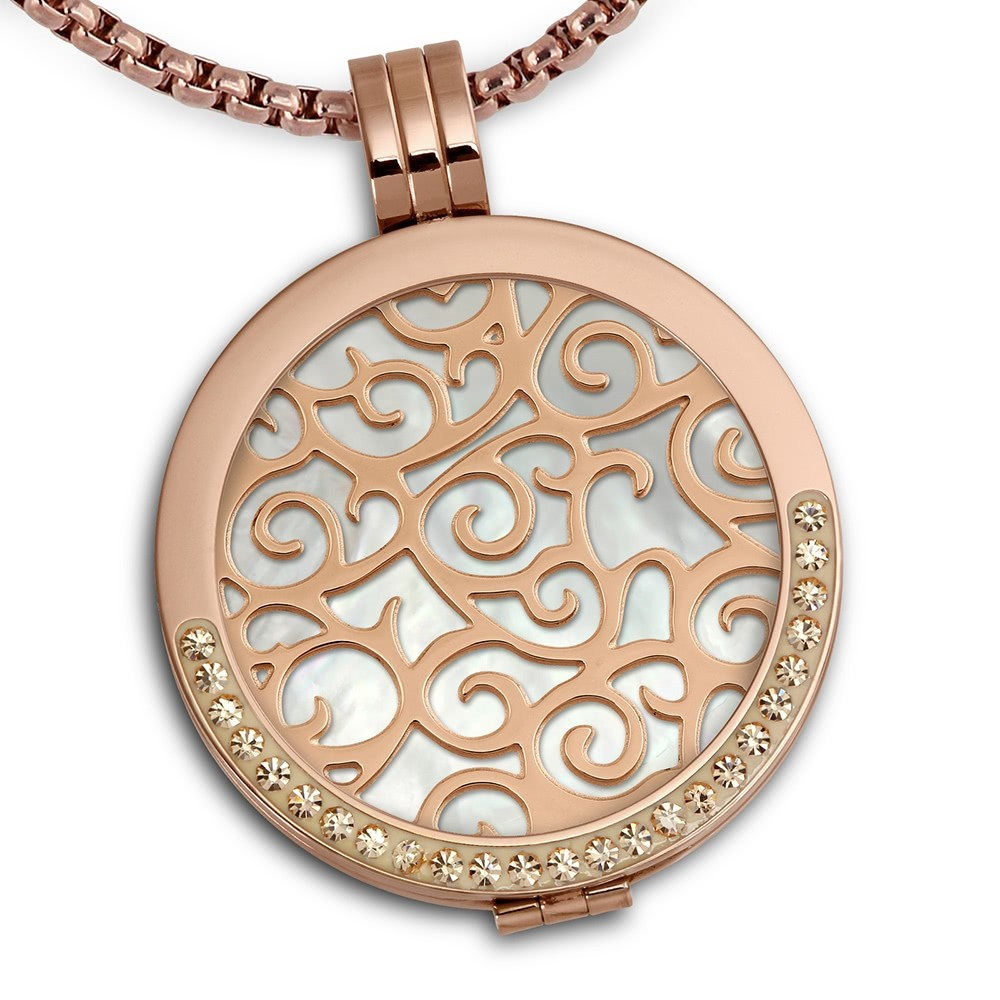 Amello Coins Ketten Set rose Edelstahl Kettenanhänger mit Kette 50cm ESCS51W