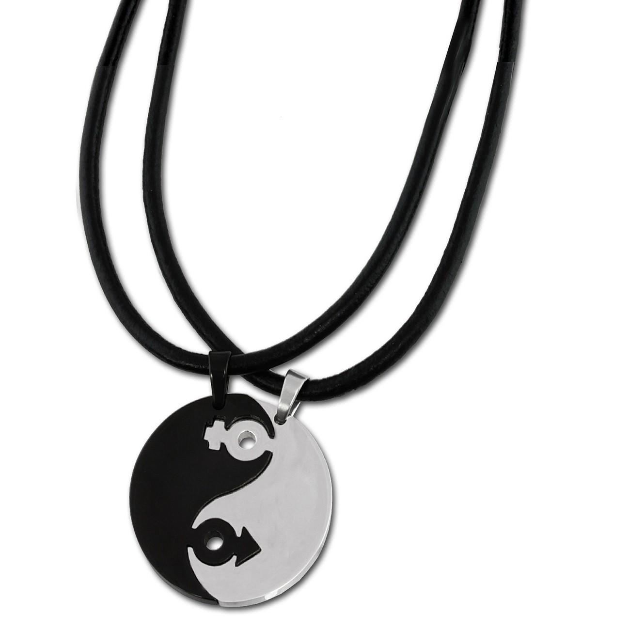 Amello Halsketten-Set YinYang schwarz/weiß Edelstahlschmuck Unisex ESK001S