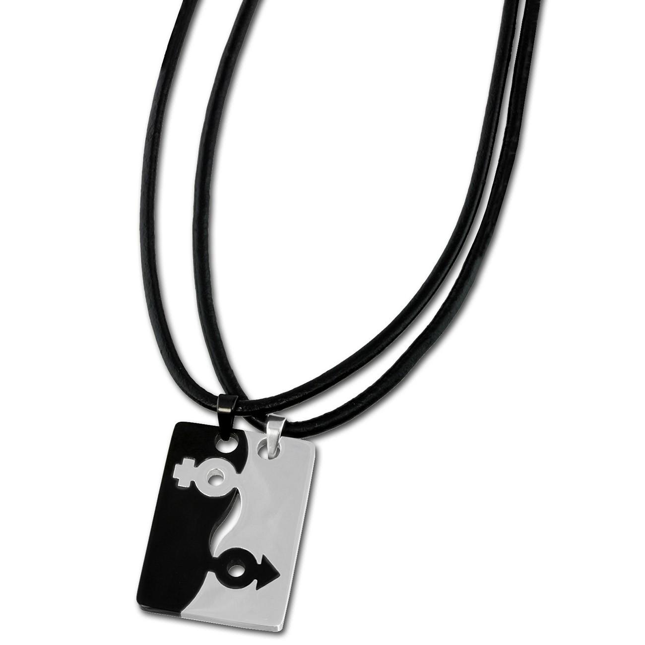Amello Halsketten-Set Sexus schwarz/weiß Edelstahlschmuck Unisex ESK002S