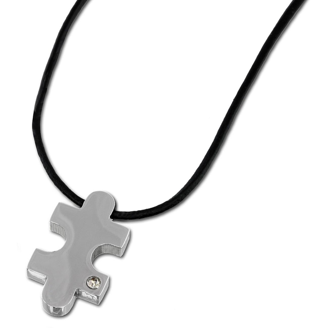 Amello Halskette Puzzle weiße Zirkonia Edelstahlschmuck Puzzel Unisex ESK021W