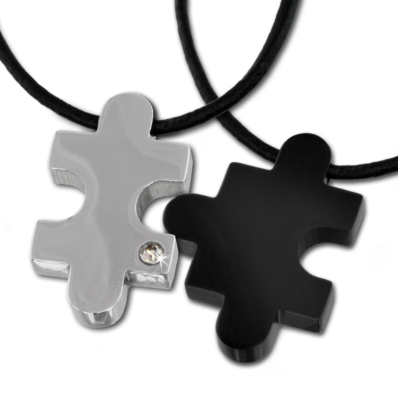 Amello Halskettenset Puzzle Edelstahl schwarz glanz Unisex Puzzel ESK023S