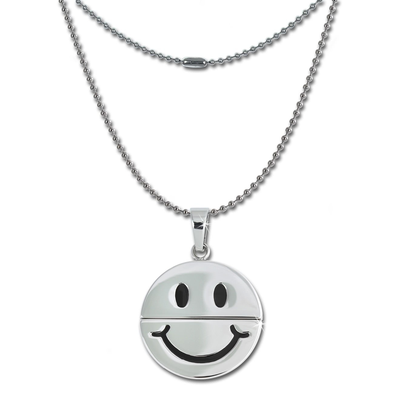 Amello Halskette mit lachender Smiley Anhänger Edelstahl Kette ESK031W