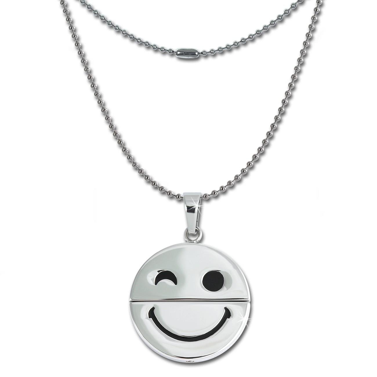 Amello Halskette mit schmunzelnder Smiley Anhänger Edelstahl Kette ESK032W