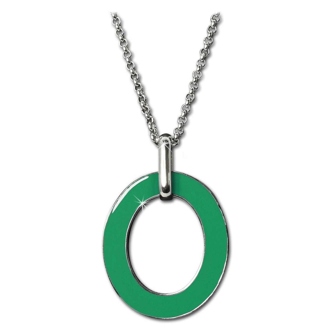 Amello Halskette Oval Emaille grün/weiß Damen Edelstahlschmuck ESKG01G