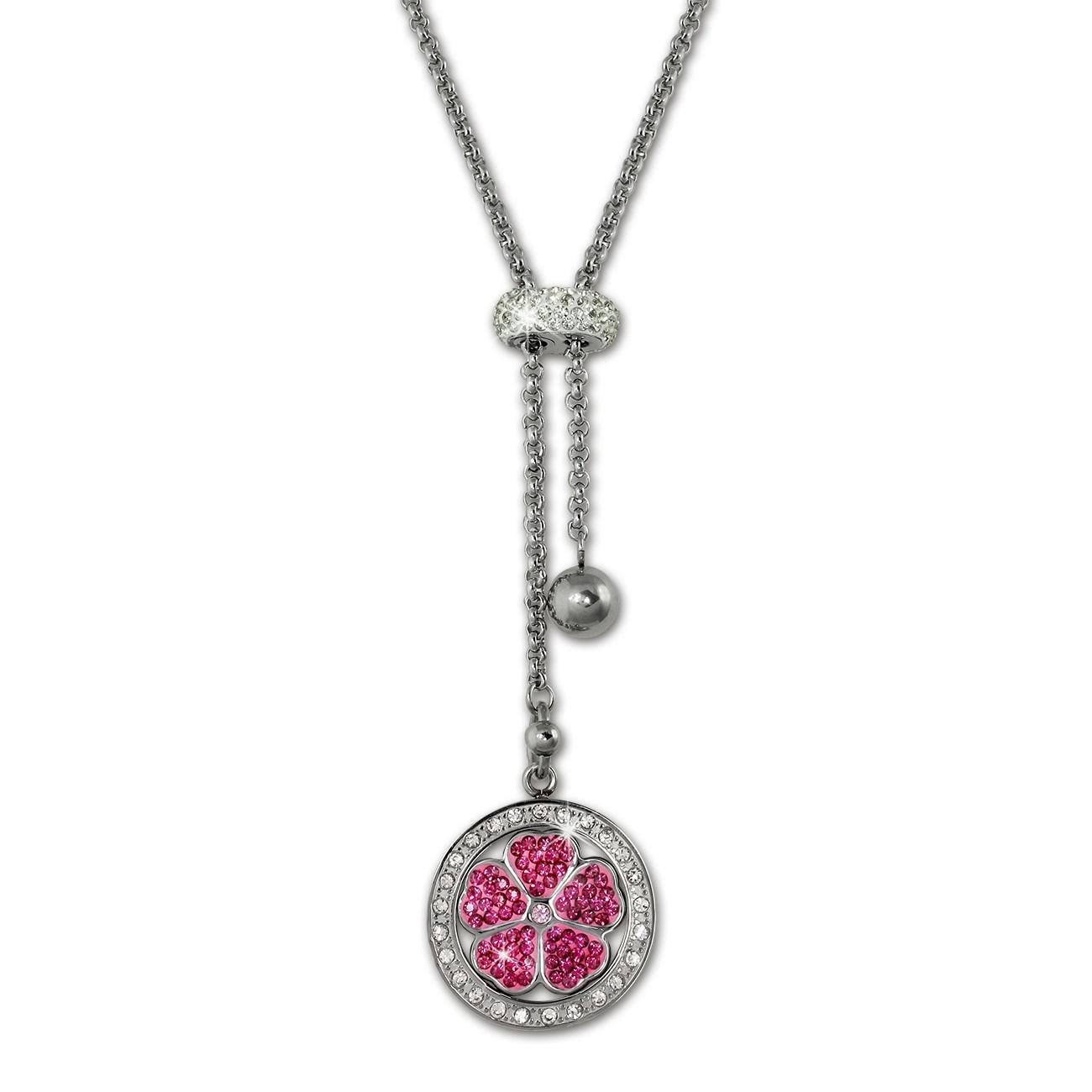 Amello Halskette Kleeblatt pink Damen Edelstahlschmuck ESKQ02P