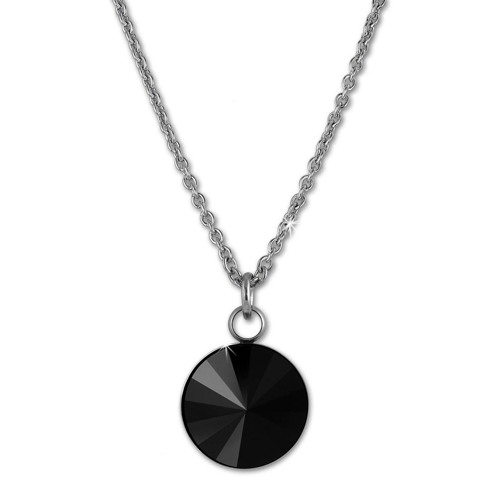 Amello Halskette Kegel Swarovski Elements schwarz Damen Stahlschmuck ESKS01S