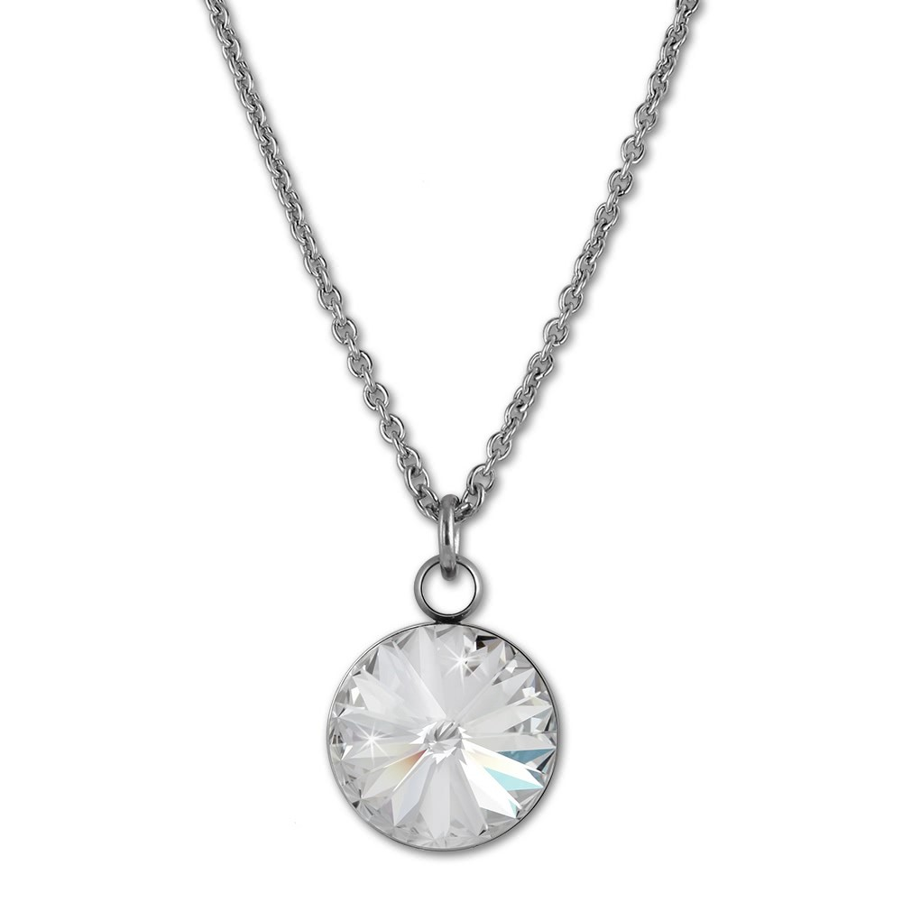 Amello Halskette Kegel Swarovski Elements weiß Damen Stahlschmuck ESKS01W