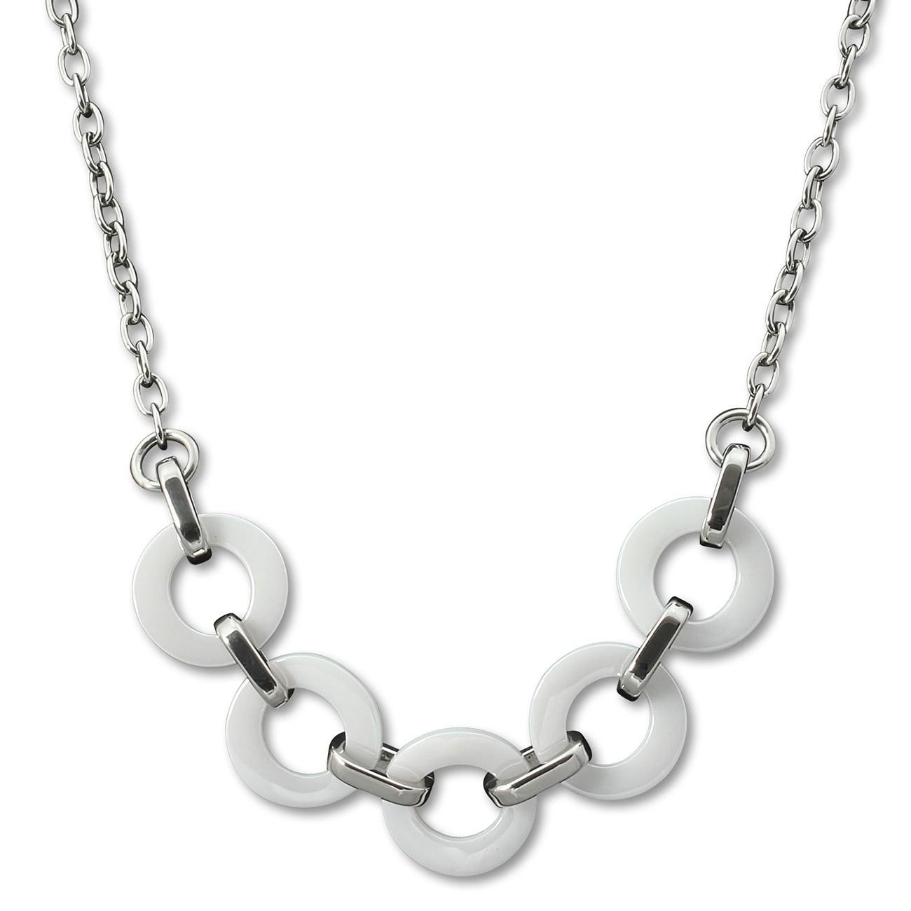 Amello Halskette Keramik Ring weiß Damen Edelstahlschmuck ESKX01W