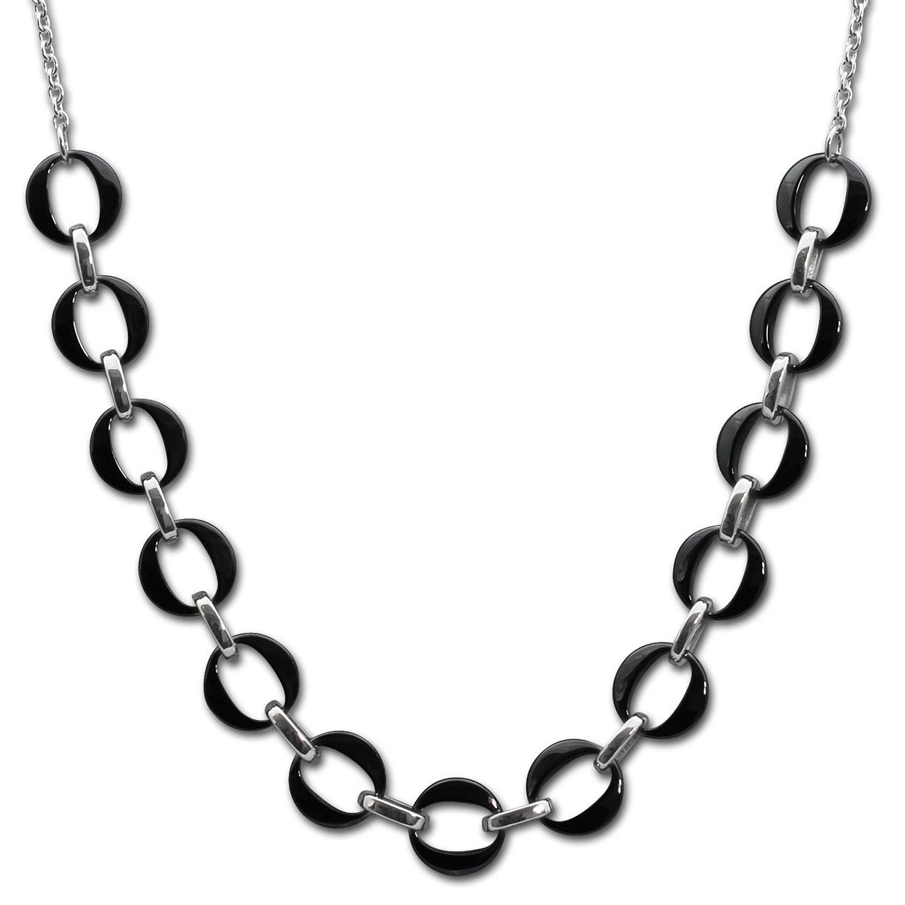 Amello Halskette Keramik Ringe schwarz Damen Edelstahlschmuck ESKX02S