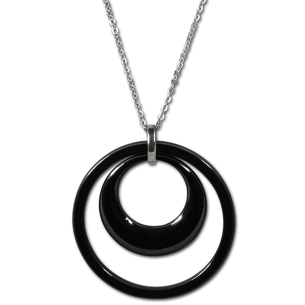 Amello Halskette Keramik Doppel schwarz Damen Edelstahlschmuck ESKX05S
